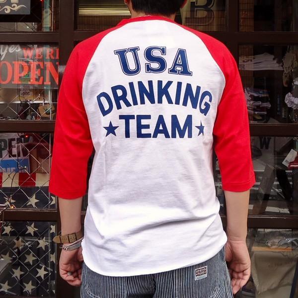 ラッセルアスレチック RUSSELL ATHLETIC ベースボールTシャツ BUDDY別注 (U.S.A.DRINKING TEAM) アメカジ メンズ BaseBall 七分袖|buddy-us-clothing|02