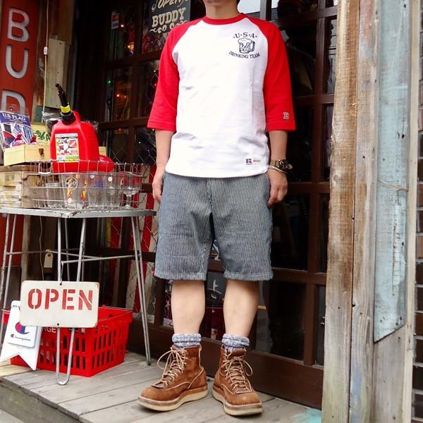 ラッセルアスレチック RUSSELL ATHLETIC ベースボールTシャツ BUDDY別注 (U.S.A.DRINKING TEAM) アメカジ メンズ BaseBall 七分袖|buddy-us-clothing|06