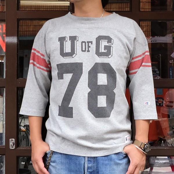 別注 チャンピオン フットボールシャツ Champion BUDDY別注 バディ 3/4スリーブ 七分袖 U of G アメカジ カレッジ UNIVERSITY OF GEORGIA C3-L405|buddy-us-clothing
