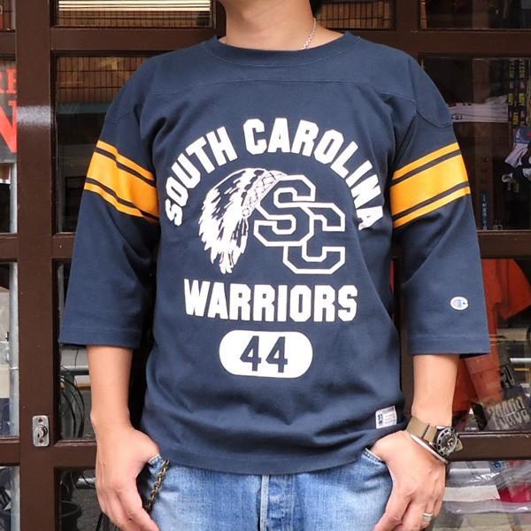 別注 チャンピオン フットボールシャツ Champion BUDDY別注 バディ 3/4スリーブ 七分袖 SOUTH CAROLINA WARRIORS アメカジ サウスキャロライナ ウォリアーズ|buddy-us-clothing