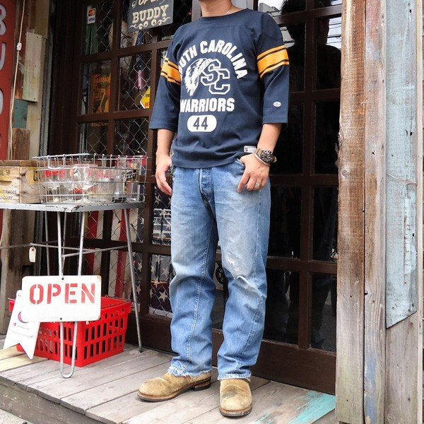 別注 チャンピオン フットボールシャツ Champion BUDDY別注 バディ 3/4スリーブ 七分袖 SOUTH CAROLINA WARRIORS アメカジ サウスキャロライナ ウォリアーズ|buddy-us-clothing|06