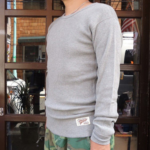 サーマルシャツ ヘザーグレー ナチュラル チャコールグレー BUDDY オリジナル ロングスリーブ 長袖 無地 サーマル Thermal ロンT インナー 重ね着 アメカジ|buddy-us-clothing|02