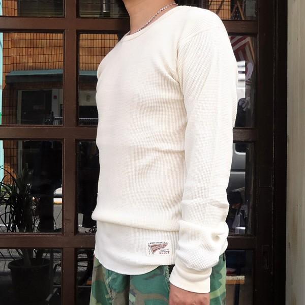 サーマルシャツ ヘザーグレー ナチュラル チャコールグレー BUDDY オリジナル ロングスリーブ 長袖 無地 サーマル Thermal ロンT インナー 重ね着 アメカジ|buddy-us-clothing|03