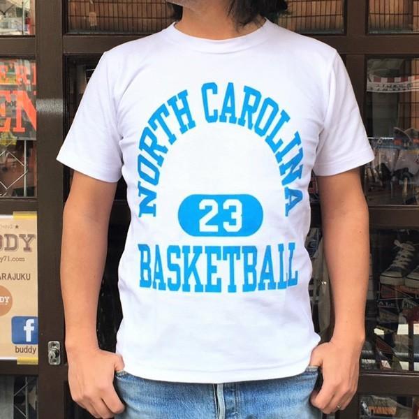 別注 チャンピオン リバースウィーブ Tシャツ 18SS BUDDY別注 Champion REVERSE WEAVE Tシャツ C3-X301  白 ホワイト 半袖 NORTH CAROLINA BASKET BALL 23|buddy-us-clothing