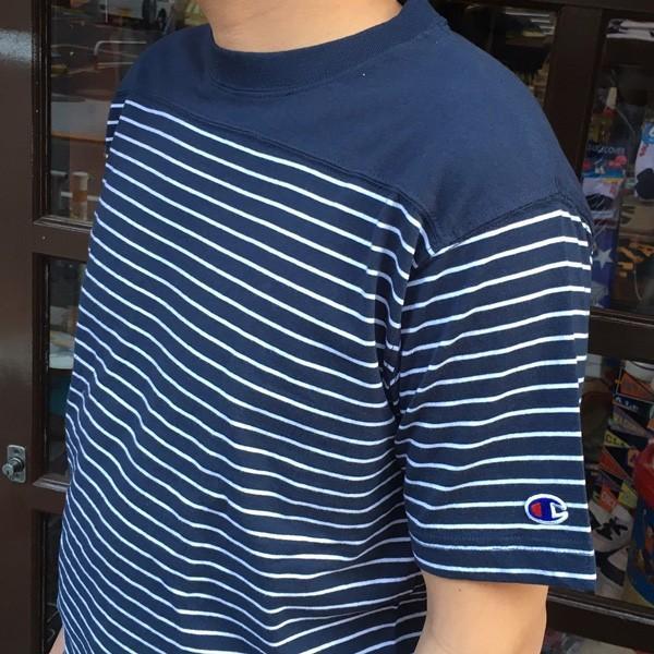 Champion 2018新作 ベーシックチャンピオン ボーダーTシャツ ネイビー 18SS C3-M351 NAVY ヘインズ アメカジ|buddy-us-clothing|03