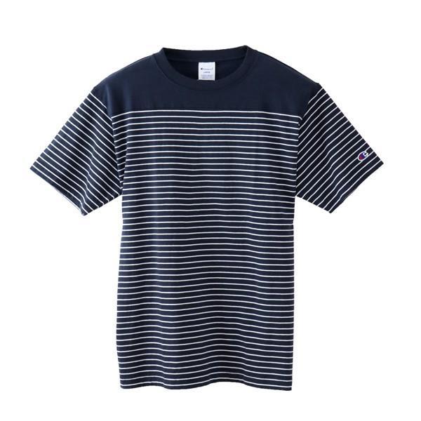 Champion 2018新作 ベーシックチャンピオン ボーダーTシャツ ネイビー 18SS C3-M351 NAVY ヘインズ アメカジ|buddy-us-clothing|07