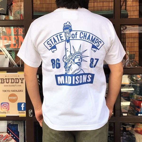 別注 チャンピオン Champion アメリカ製 白 Tシャツ T1011 MADE IN U.S.A. Tシャツ BUDDY別注 NYC MADISONS ティーテンイレブン ホワイト WHITE アメカジ|buddy-us-clothing