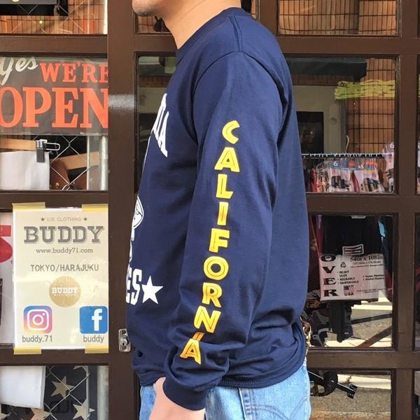 ロンT ロングスリーブTシャツ BUDDYオリジナル CALIFORNIA EAGLES GILDAN カリフォルニア イーグルス USA ネイビー アメカジ 長袖 ロングTシャツ|buddy-us-clothing|03