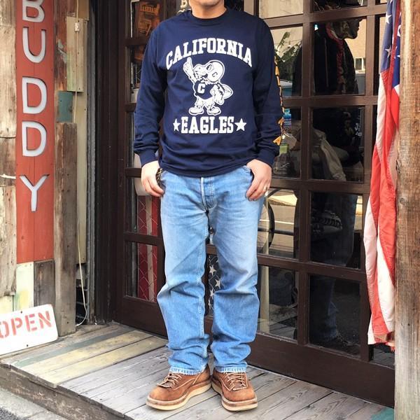 ロンT ロングスリーブTシャツ BUDDYオリジナル CALIFORNIA EAGLES GILDAN カリフォルニア イーグルス USA ネイビー アメカジ 長袖 ロングTシャツ|buddy-us-clothing|07