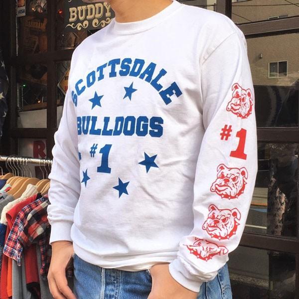 ロンT ロングスリーブTシャツ BUDDY オリジナル SCOTTSDALE BULLDOGS GILDAN ブルドッグス USA ホワイト アメカジ 長袖 ロングTシャツ|buddy-us-clothing