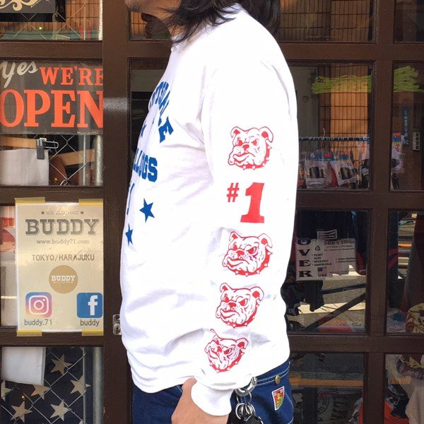 ロンT ロングスリーブTシャツ BUDDY オリジナル SCOTTSDALE BULLDOGS GILDAN ブルドッグス USA ホワイト アメカジ 長袖 ロングTシャツ|buddy-us-clothing|03
