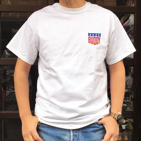 アメカジ BUDDY オリジナル ワンポイント ホワイト Tシャツ STARS & STRIPES GILDAN USA アメリカ 星条旗柄 半袖 buddy-us-clothing 02