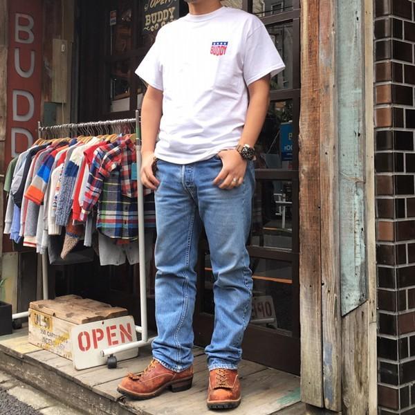 アメカジ BUDDY オリジナル ワンポイント ホワイト Tシャツ STARS & STRIPES GILDAN USA アメリカ 星条旗柄 半袖 buddy-us-clothing 05