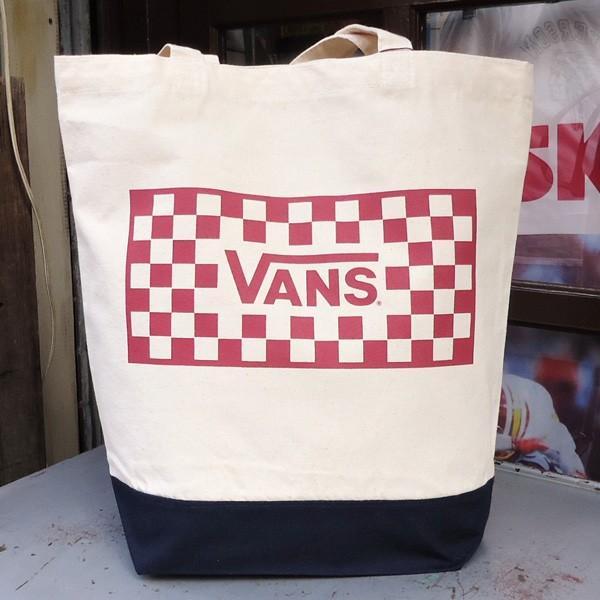 バンズ VANS ヴァンズ チェッカー トートバッグ ナチュラル オフホワイト ブラック レッド スケボー OLD VANS OFF THE WALL SKATE BOARD VA17FW-UB04|buddy-us-clothing|04
