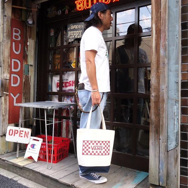 バンズ VANS ヴァンズ チェッカー トートバッグ ナチュラル オフホワイト ブラック レッド スケボー OLD VANS OFF THE WALL SKATE BOARD VA17FW-UB04|buddy-us-clothing|05