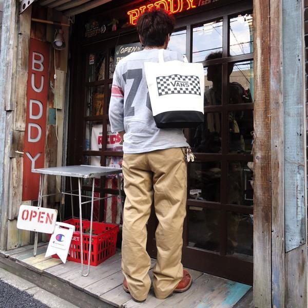 バンズ VANS ヴァンズ チェッカー トートバッグ ナチュラル オフホワイト ブラック レッド スケボー OLD VANS OFF THE WALL SKATE BOARD VA17FW-UB04|buddy-us-clothing|06