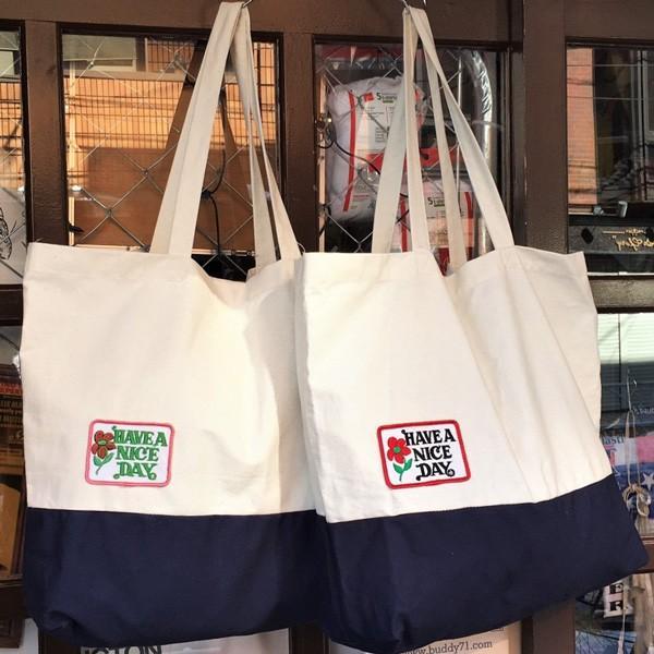 キャンバス ワッペン付 トートバッグ HAVE A NICE DAY DAY ビンテージワッペン USA CANVAS TOTE BAG アメカジ CANVAS SHOPPING BAG|buddy-us-clothing