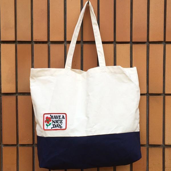 キャンバス ワッペン付 トートバッグ HAVE A NICE DAY DAY ビンテージワッペン USA CANVAS TOTE BAG アメカジ CANVAS SHOPPING BAG|buddy-us-clothing|03