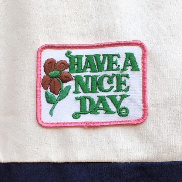 キャンバス ワッペン付 トートバッグ HAVE A NICE DAY DAY ビンテージワッペン USA CANVAS TOTE BAG アメカジ CANVAS SHOPPING BAG|buddy-us-clothing|04