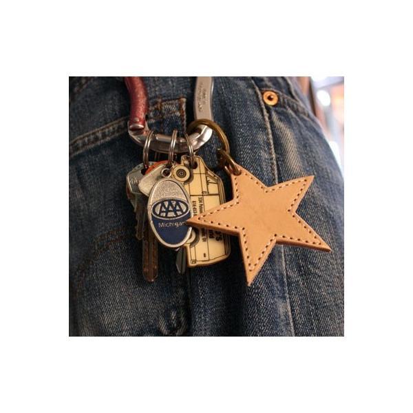 レザーキーホルダー BUDDY オリジナル レザースターキーホルダー ヌメ革 本革 アメカジ 星|buddy-us-clothing|02