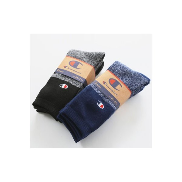 チャンピオン メンズ フルパイル ソックス Champion 2足組 フルレングスソックス 靴下 下着 フットウェア|buddy-us-clothing