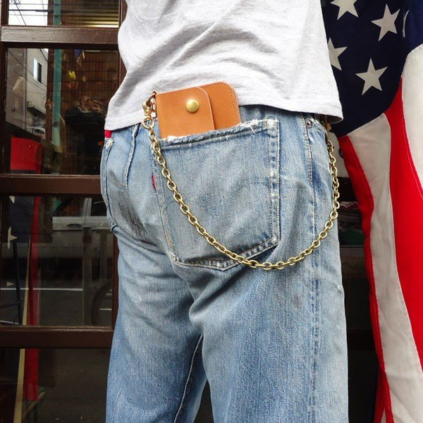 ベンズレザー ロングウォレット(キャメル) ウォレットチェーン付き トラッカー BUDDY オリジナル 長財布 キャメル 真鍮  ブラス 栃木レザー|buddy-us-clothing|06