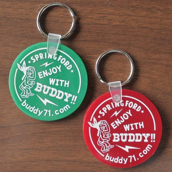 アメリカ製 キーホルダー BUDDY オリジナル ソフトビニール ラウンド キータグ ENJOY WITH BUDDY!! グリーン レッド Round Key Tag Made in U.S.A. インディアン|buddy-us-clothing