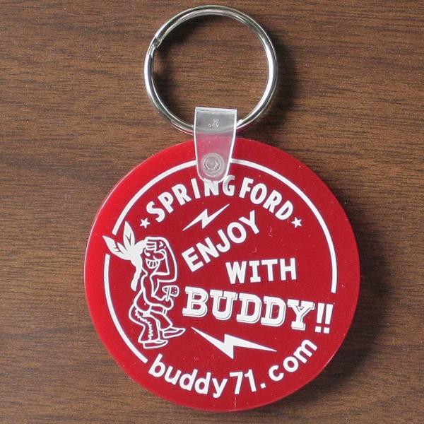 アメリカ製 キーホルダー BUDDY オリジナル ソフトビニール ラウンド キータグ ENJOY WITH BUDDY!! グリーン レッド Round Key Tag Made in U.S.A. インディアン|buddy-us-clothing|02