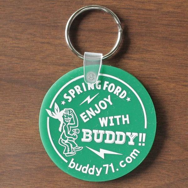 アメリカ製 キーホルダー BUDDY オリジナル ソフトビニール ラウンド キータグ ENJOY WITH BUDDY!! グリーン レッド Round Key Tag Made in U.S.A. インディアン|buddy-us-clothing|03