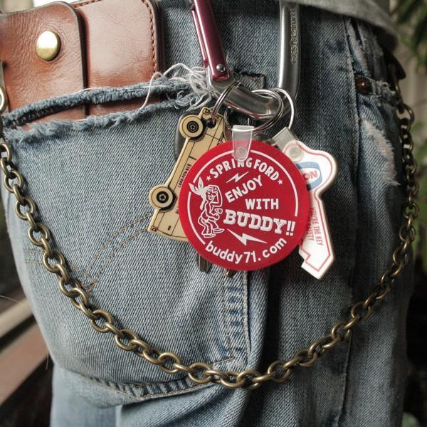 アメリカ製 キーホルダー BUDDY オリジナル ソフトビニール ラウンド キータグ ENJOY WITH BUDDY!! グリーン レッド Round Key Tag Made in U.S.A. インディアン|buddy-us-clothing|04