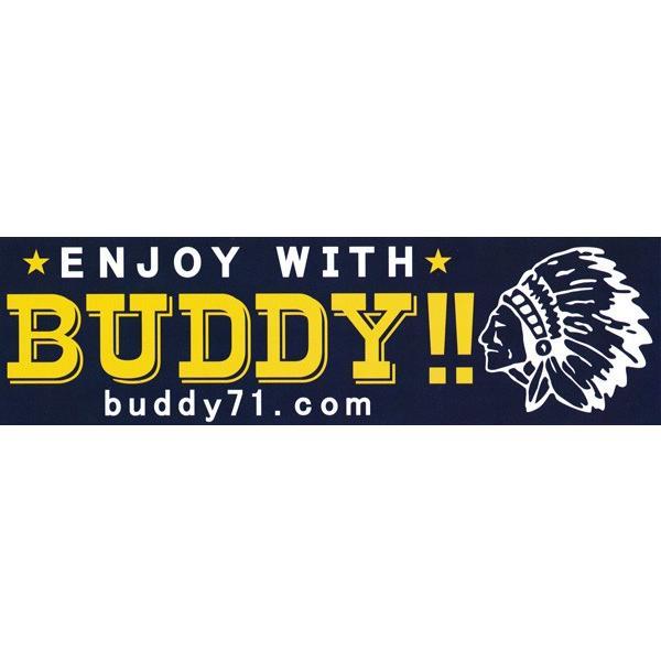 バンパーステッカー 耐水素材・耐紫外線・BUDDY ステッカー ネイビー・チャコール アメカジ バディ デカール カスタム シール インディアン|buddy-us-clothing