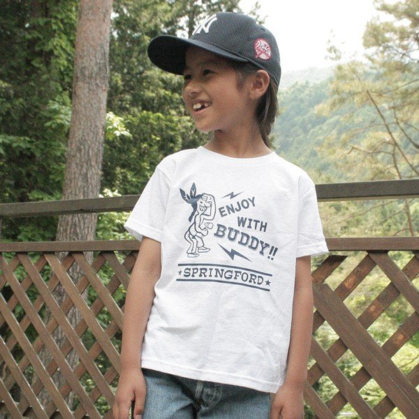 アメカジ キッズ Tシャツ BUDDY オリジナル SPRING FORD KID'S Tシャツ(ENJOY WITH BUDDY!!) 子供 キッズ インディアン 白 ホワイト buddy-us-clothing