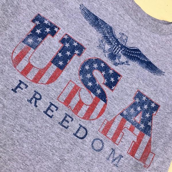 アメカジキッズ USA スター&ストライプ ロゴ Tシャツ KID'S コットン 綿100% 子供服 アメリカ 星条旗 USA FREEDOM EAGLE 直輸入 SIZE:4 buddy-us-clothing