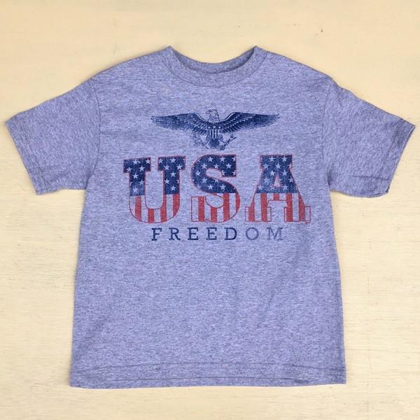 アメカジキッズ USA スター&ストライプ ロゴ Tシャツ KID'S コットン 綿100% 子供服 アメリカ 星条旗 USA FREEDOM EAGLE 直輸入 SIZE:4 buddy-us-clothing 02