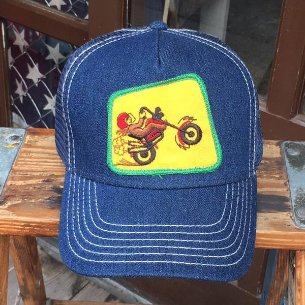 CHOPPER MOTORCYCLE  チョッパー バイク BUDDY オリジナル・ワッペン付きデニムキャップ オットーキャップ 70's アメカジ|buddy-us-clothing