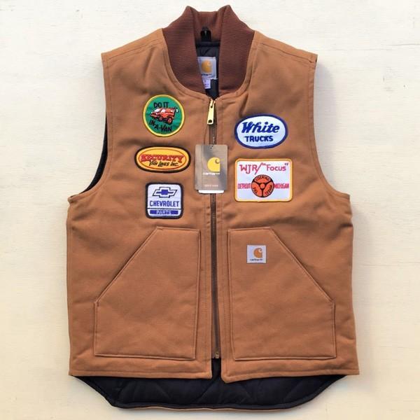 カーハート ワッペン付き ダックベスト ブラウン Sサイズ(日本のMサイズ相当)BUDDY オリジナル Carhartt V01 Duck Vest Quilt-Lined V01BRN 中綿 アメカジ |buddy-us-clothing|02