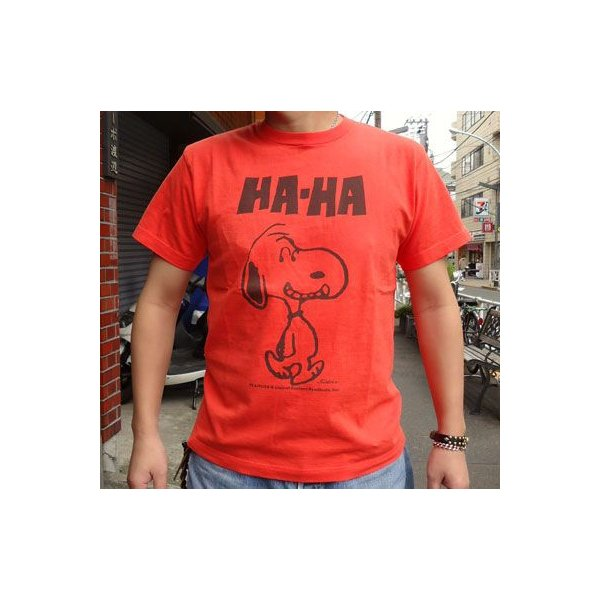 BUDDY 別注 PEANUTS スヌーピーTシャツ(HA-HA)|buddy-us-clothing