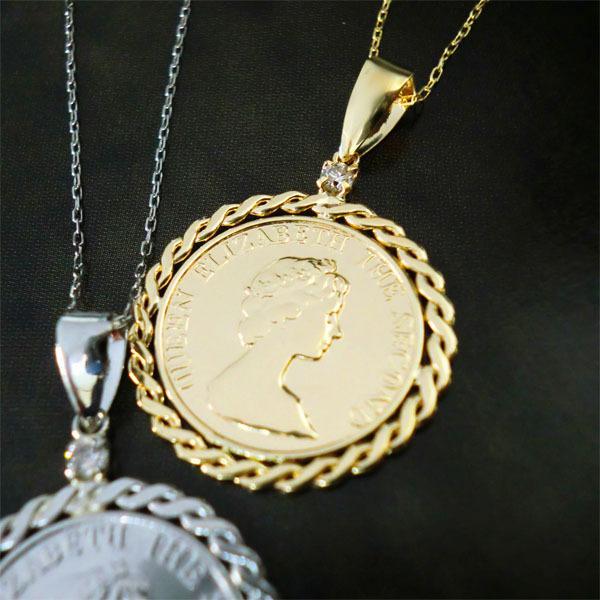 コイン ネックレス k18 K18 コインモチーフ 一粒 ダイヤモンド エリザベス ペンダント 18金 ゴールド レディース ジュエリー アクセ プレゼント 自分へのご褒美
