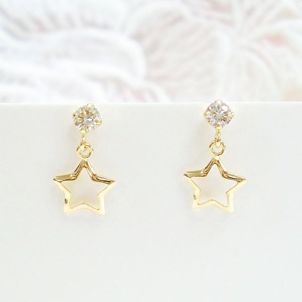 k18 ピアス 星 スター ダイヤモンド 一粒 ダイヤ 0.10ct ゴールド K18 イエローゴールド 重ね付け 揺れる 華奢 オフィス 普段使い レディース ジュエリー アクセ