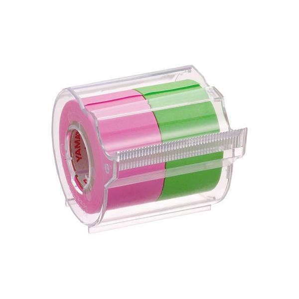 ヤマト メモックロールテープカッター付 2巻入り 25mm×10m ローズ&ライム