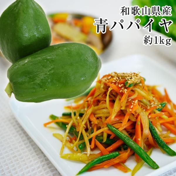 和歌山県産 青パパイヤ 約1kg(1玉)パパイン酵素たっぷり!効能たっぷり! ※発送期間:9月上旬〜11月下旬頃まで(fy2)