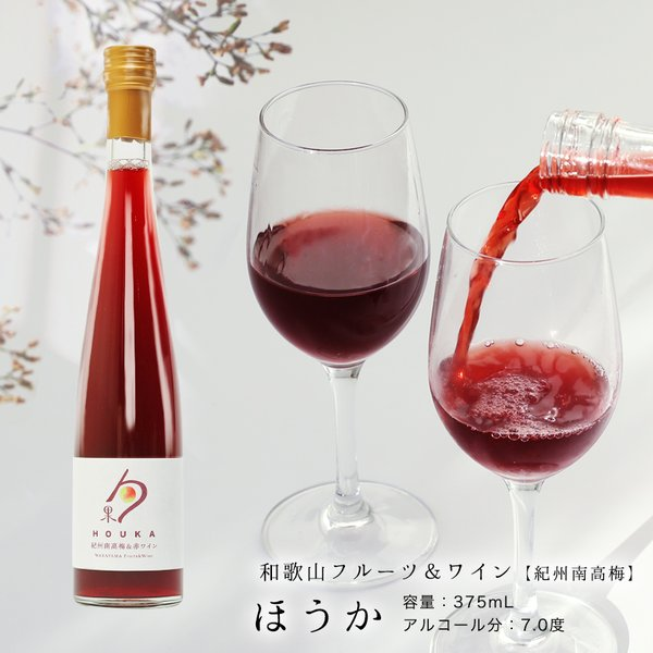内祝 プチギフト 紀州南高梅&赤ワイン (和歌山フルーツワイン) 375ml アルコール分7度 国産白ワイン お酒 果実酒 リキュール ワイン (fy3)