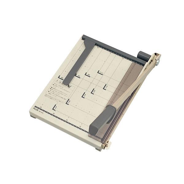 プラス/ペーパーカッター A4タテ 裁断機 グレー (PK-013・012-763) 台盤は丈夫な鋼板製 PLUS