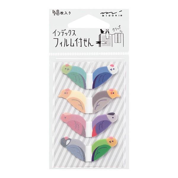 ミドリ/付せん紙 フィルム インデックス 付箋 トリ柄 鳥 (19046006) midori デザインフィル 1枚ずつ取り出しスムーズ♪かわいい動物が目印になる付箋