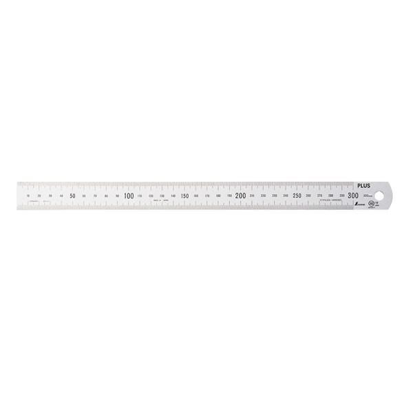 プラス/定規・ステンレス直尺(47-742) 長さ30cm 厚さ1mm 幅25mm シルバー 反射防止加工あり ビニールケース入り カッターを使っても安心/PLUS