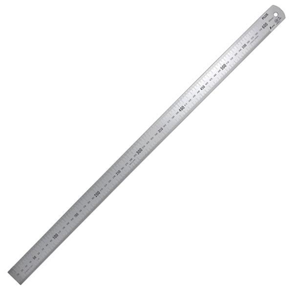 プラス/定規・ステンレス直尺(47-743) 長さ60cm 厚さ1.2mm 幅30mm シルバー 反射防止加工あり ビニールケース入り カッターを使っても安心/PLUS