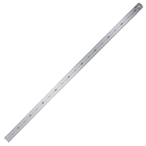 プラス/定規・ステンレス直尺(47-744) 長さ100cm 厚さ1.5mm 幅35mm シルバー 反射防止加工あり ビニールケース入り カッターを使っても安心/PLUS