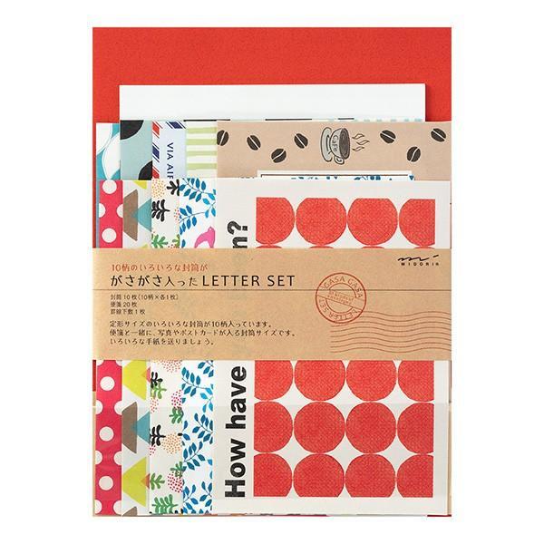 ミドリ/レターセット ガサガサ 10柄封筒 赤(86763006)10種類の定形サイズ封筒が「がさがさ」入ったレターセット midori/デザインフィル