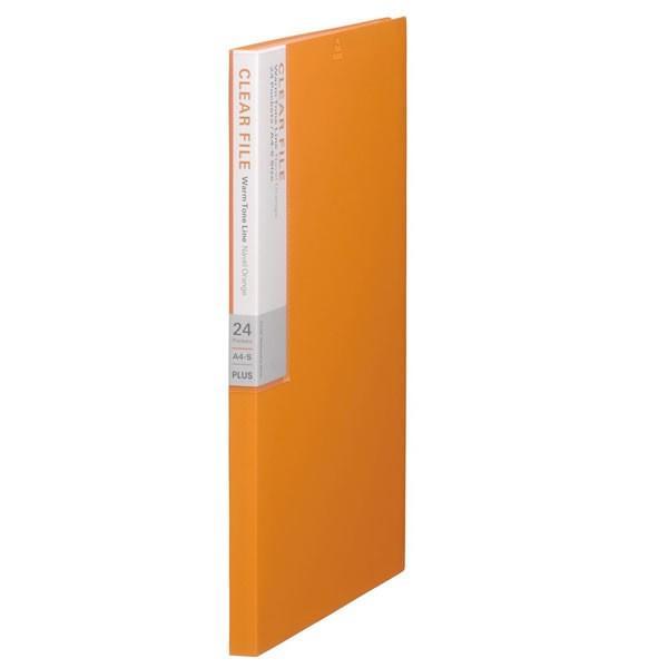 【A4-S・縦型】プラス/デジャヴカラーズシリーズ クリアーファイル・溶着式(FC-124DP・89-606)ネーブルオレンジ ポケット数24/PLUS