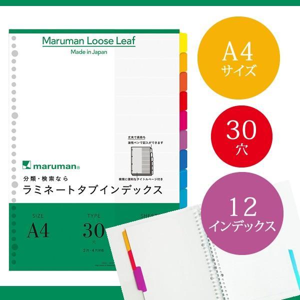 【A4サイズ】マルマン ラミネートタブインデックス ルーズリーフ 30穴 12山 12枚(LT4012)